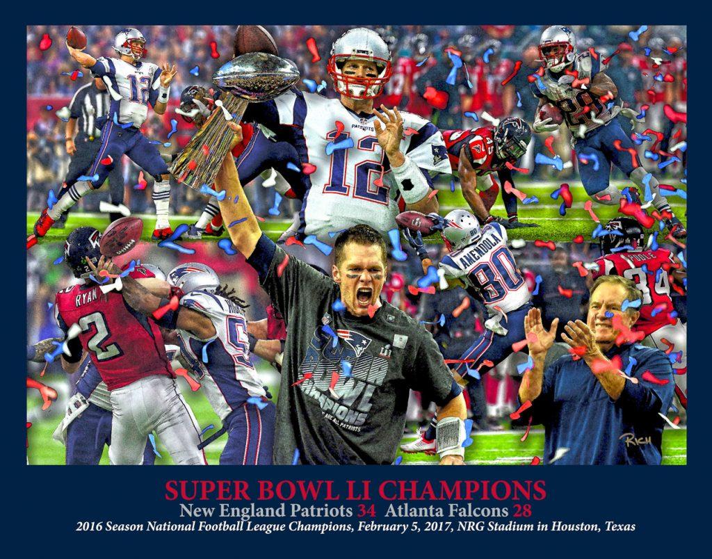 New-England-Patriots-SBC-2017-Art-Tom-Brady-Coach Bill Belichick