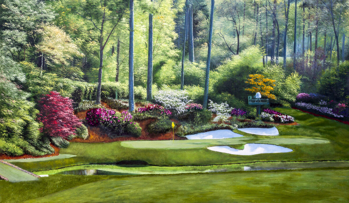 Augusta National Golf Club Masters Tournament Hole 12 Golden Bell golf course oil painting art print 2550