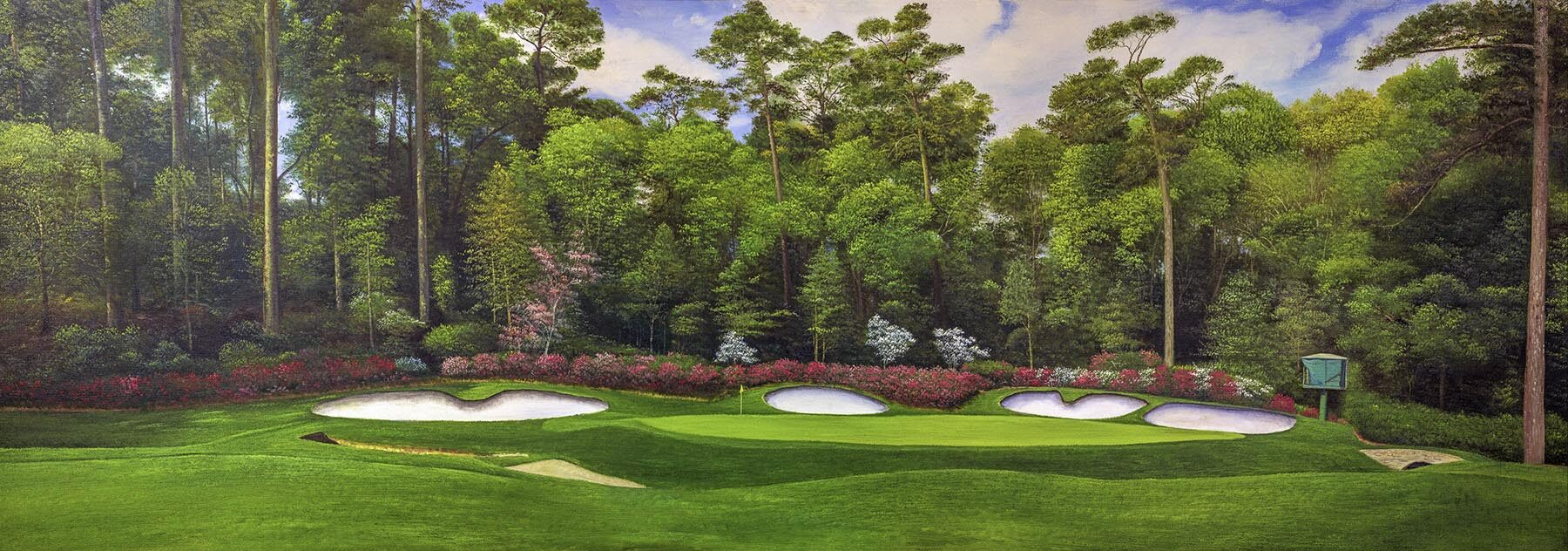 Augusta National Hole 13 Oil Painting Art Print