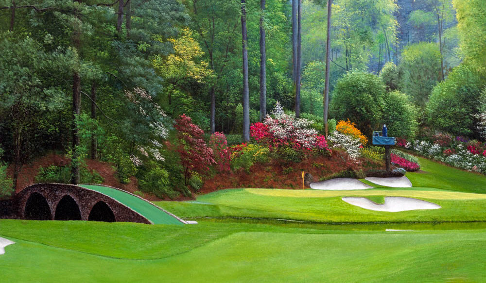 Augusta National Golf Club Masters Tournament Hole 12 Golden Bell golf course oil painting art print 2570
