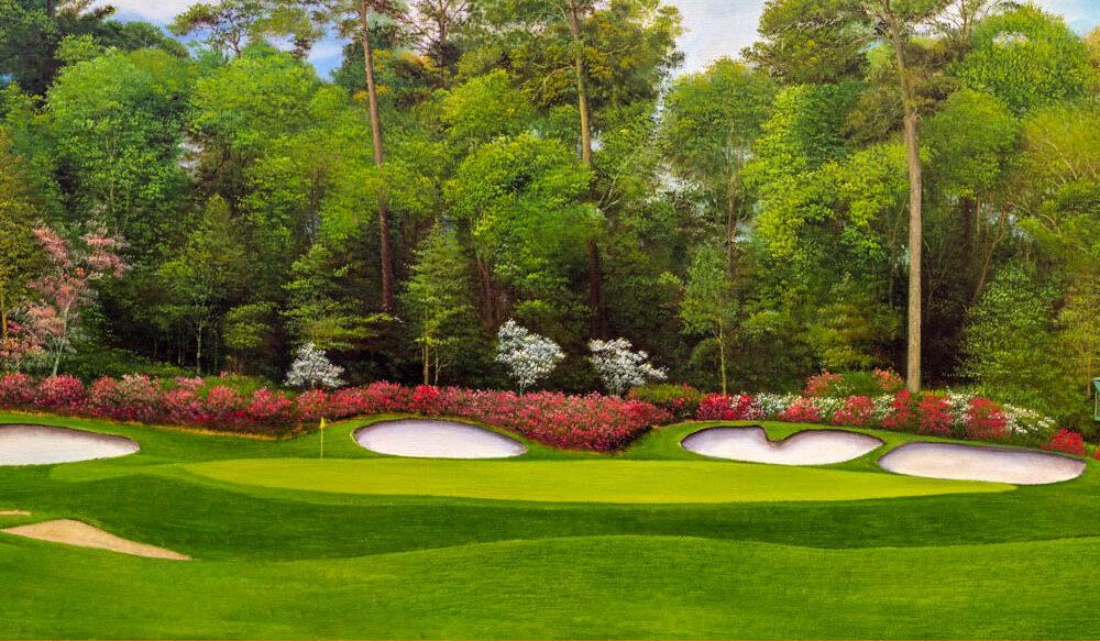 Augusta National Hole 13 Azaleah oil painting art print 2560
